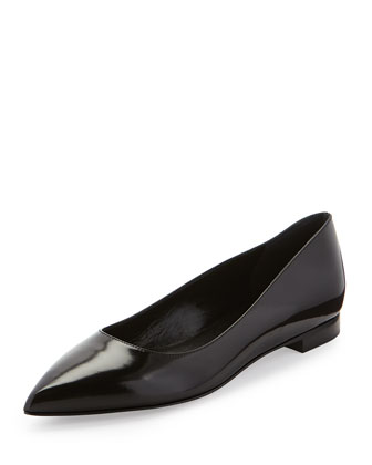 Paris Point-Toe Ballerina Flat, Black