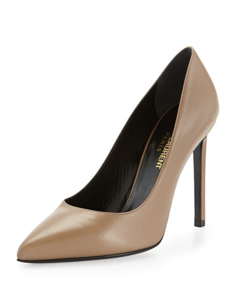 Paris Leather Pointed-Toe Pump, Pink