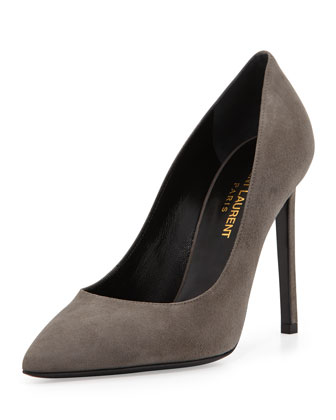 Paris Suede Pointed-Toe Pump, Gray