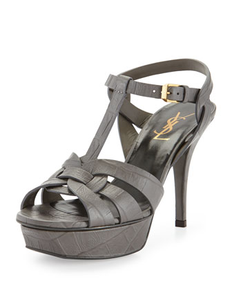 Tribute Croc-Embossed Sandal, Gray
