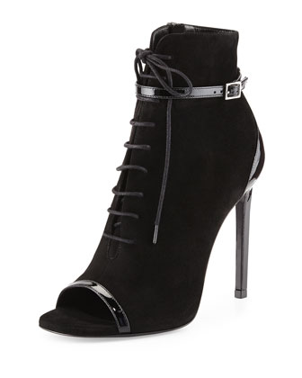 Suede Open-Toe Lace-Up Bootie