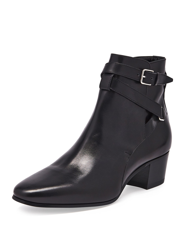 Saint Laurent Blake Leather Jodhpur Bootie, Women's, Size: 36.5B/6.5B, Black