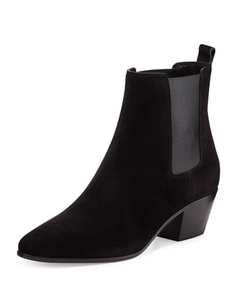Wyatt Suede Gored Bootie, Black