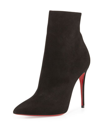 So Kate Booty Suede Red Sole Ankle Boot, Black