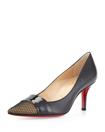Gladiator Leather Red Sole Pump, Black