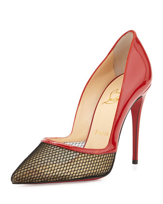 Miluna Patent/Fishnet Red Sole Pump, Red