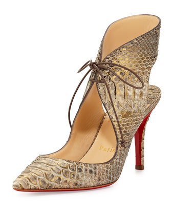 Franca Python Tie-Front Red Sole Pump, Taupe