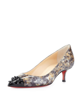 Geo Printed Spike Red Sole Pump, Black
