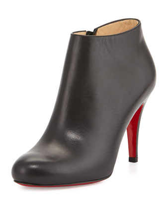 Belle Leather Red-Sole Ankle Boot, Black