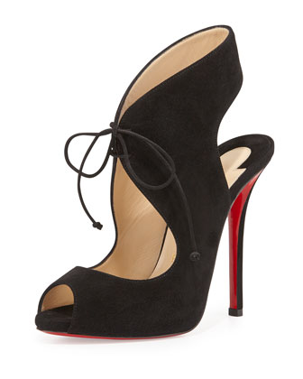 Allegra Suede Red Sole Sandal, Black
