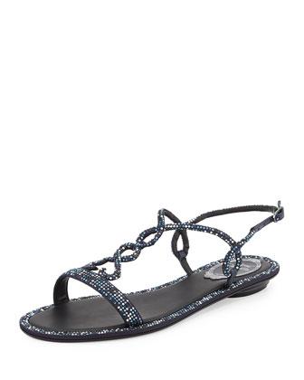 Heart-Detail Strass Flat Sandal
