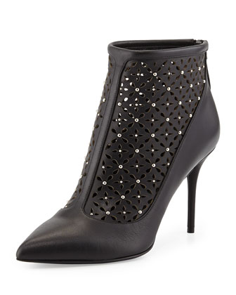 Studded Laser-Cut Point-Toe Bootie