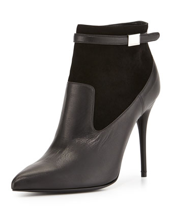 Suede & Leather Point-Toe Bootie, Black