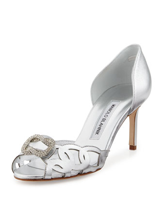 Charmed Crystal-Buckle Cutout Pump, Silver