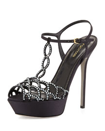 Scalloped Crystal T-Strap Platform Sandal, Black