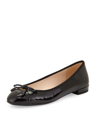 Patent Cap-Toe Bow Ballerina Flat