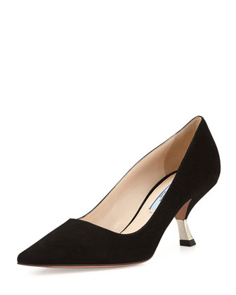 Suede Angled-Heel Pointed Pump, Black