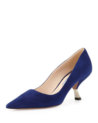 Suede Angled-Heel Pointed Pump, Navy