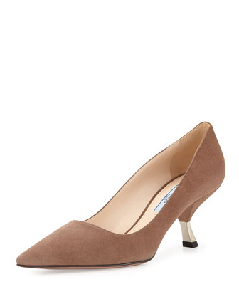 Suede Angled-Heel Pointed Pump, Taupe