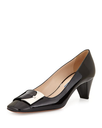 Patent Low-Heel Buckle Pump, Black