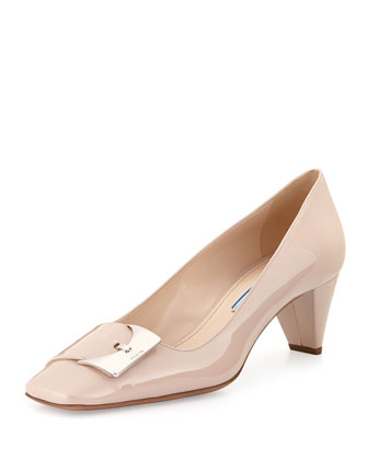 Patent Low-Heel Buckle Pump, Beige