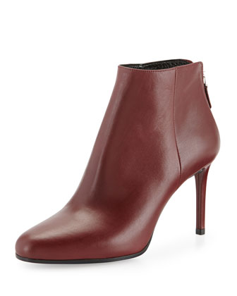 Leather Almond-Toe Ankle Boot, Burgundy