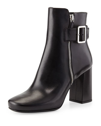 Chunky Double-Zip Leather Bootie