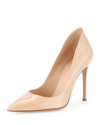 Patent Pointed-Toe Pump, Beige