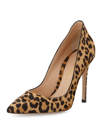 Leopard-Print Calf Hair Pump, Brown
