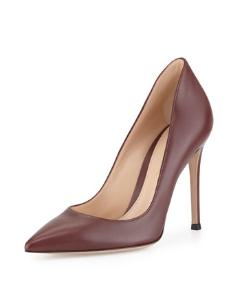 Leather Pointed-Toe Pump, Burgundy