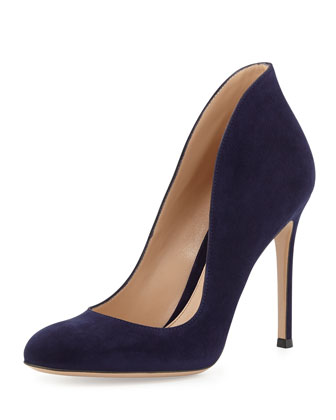 Round-Toe Suede Flare Pump, Denim