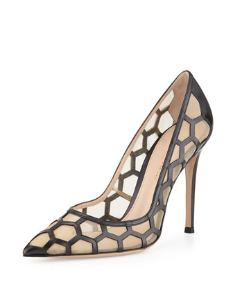 Leather and Mesh Honeycomb Pump