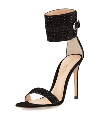 Studded Suede Ankle-Wrap Sandal