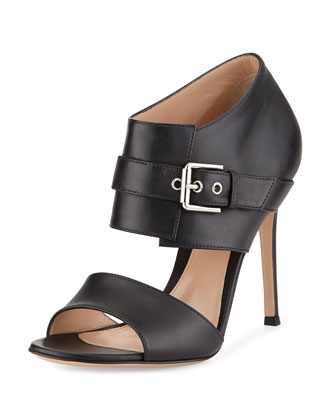 Leather Buckle-Front Sandal