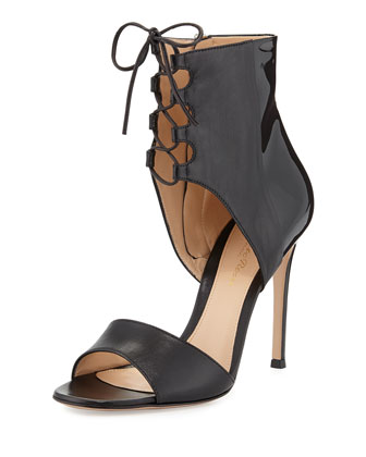 Patent and Leather Lace-Up Sandal
