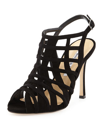 Dance Strappy Suede Sandal, Black