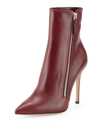Leather Pointed-Toe Bootie, Burgundy