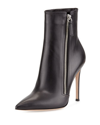 Leather Pointed-Toe Bootie, Black