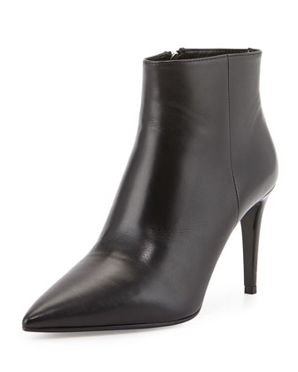 Leather Pointed-Toe Ankle Boot, Black