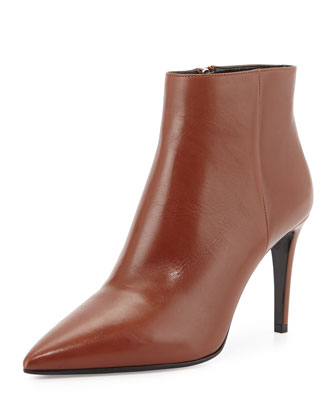 Leather Pointed-Toe Ankle Boot, Tan