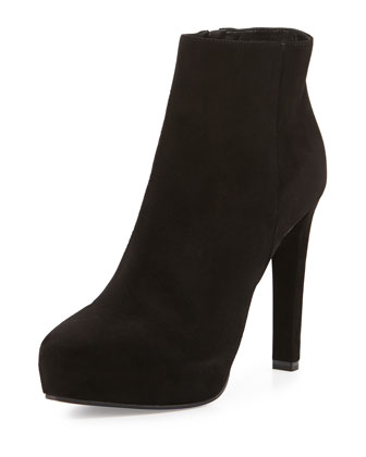 Suede Almond-Toe Platform Ankle Boot, Black