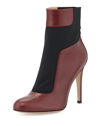 Leather Stretch-Panel Bootie
