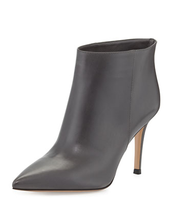 Leather Pointed-Toe Bootie