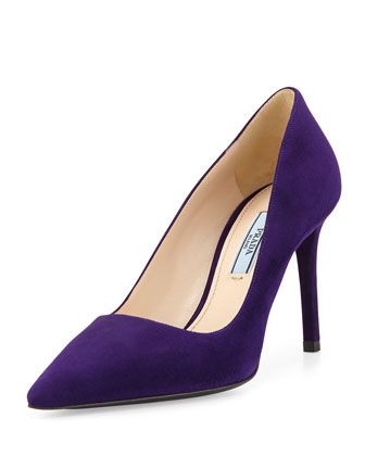 Suede Pointed-Toe Pump, Purple