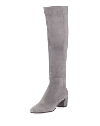 Suede Block-Heel Over-the-Knee Boot