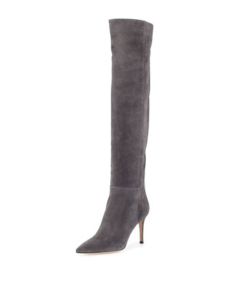 Pointed Suede Over-the-Knee Boot