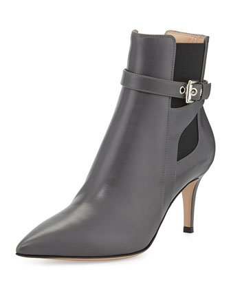 Pointed Buckled Stretch-Side Bootie
