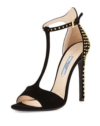 Studded Suede T-Strap Sandal