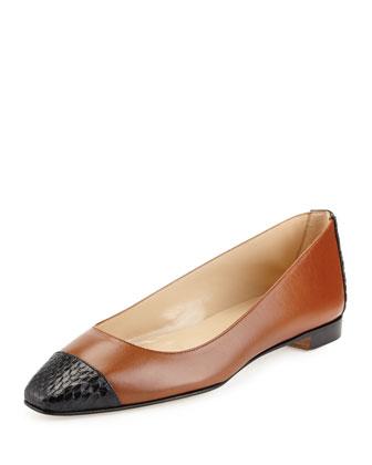 Leecap Leather & Snakeskin Flat, Light Brown