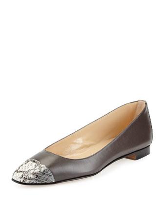 Leecap Leather & Snakeskin Flat, Medium Gray